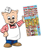 Mr pig holding weekly circular